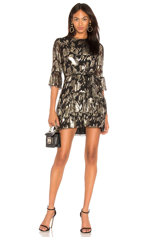 Mestiza New York Lucia Ruffled Mini Dress in Gold & Black