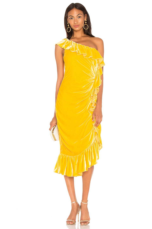 Flamenco One Shoulder Ruffle Midi Dress