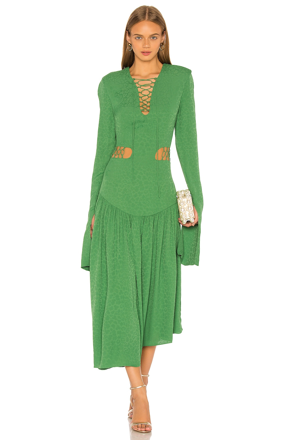MATERIEL Lace Up Dress in Green