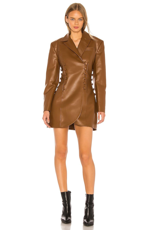 MATERIEL Faux Leather Blazer Dress in Cognac