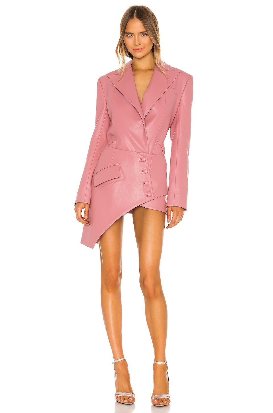 MATERIEL Faux Leather Corset Detail Blazer Dress in Pink