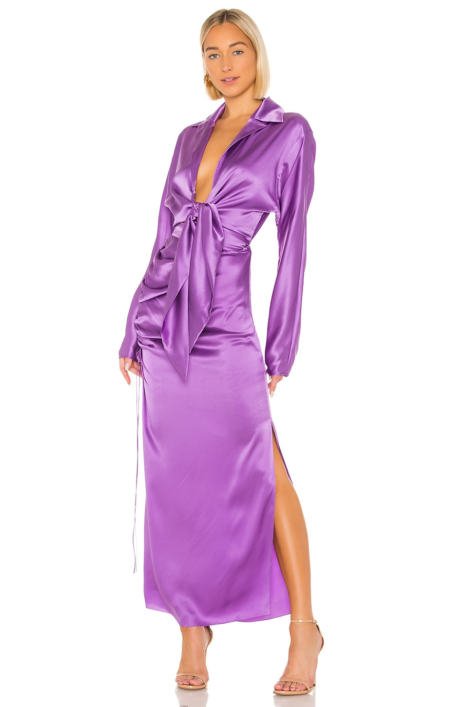 MATERIEL Front Tie Two Piece Silk Dress in Violet