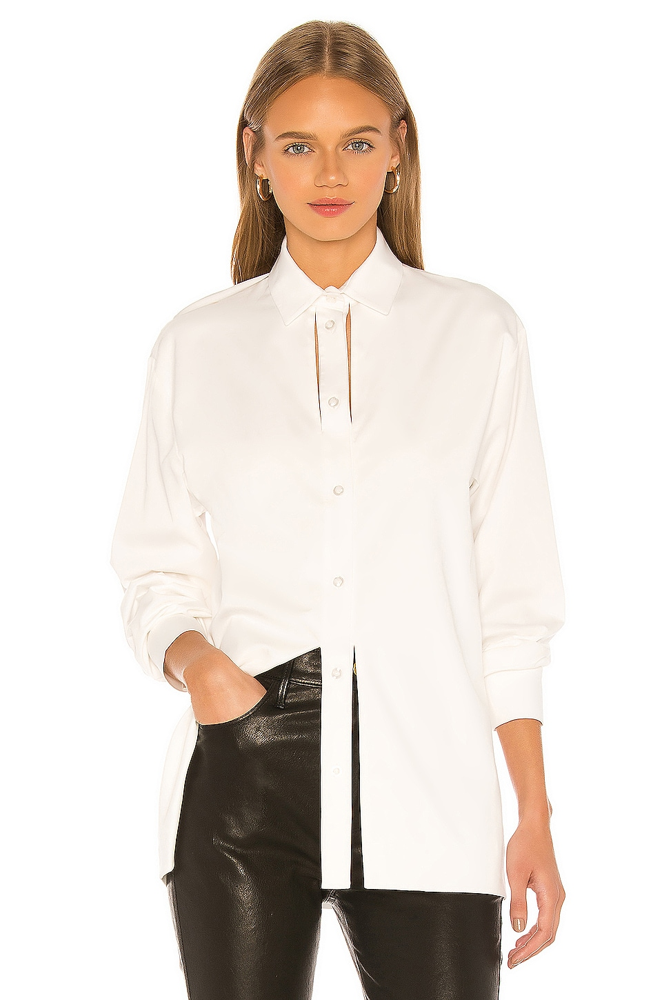 MATERIEL Button Down with Slits in White
