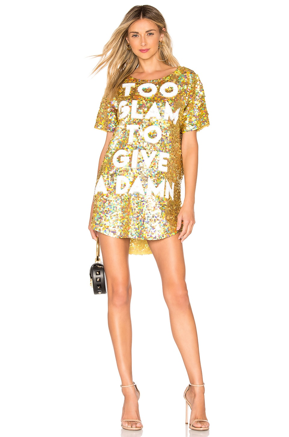 MUAMUADOLLS Too Glam To Give A Damn Dress in Metallic Gold