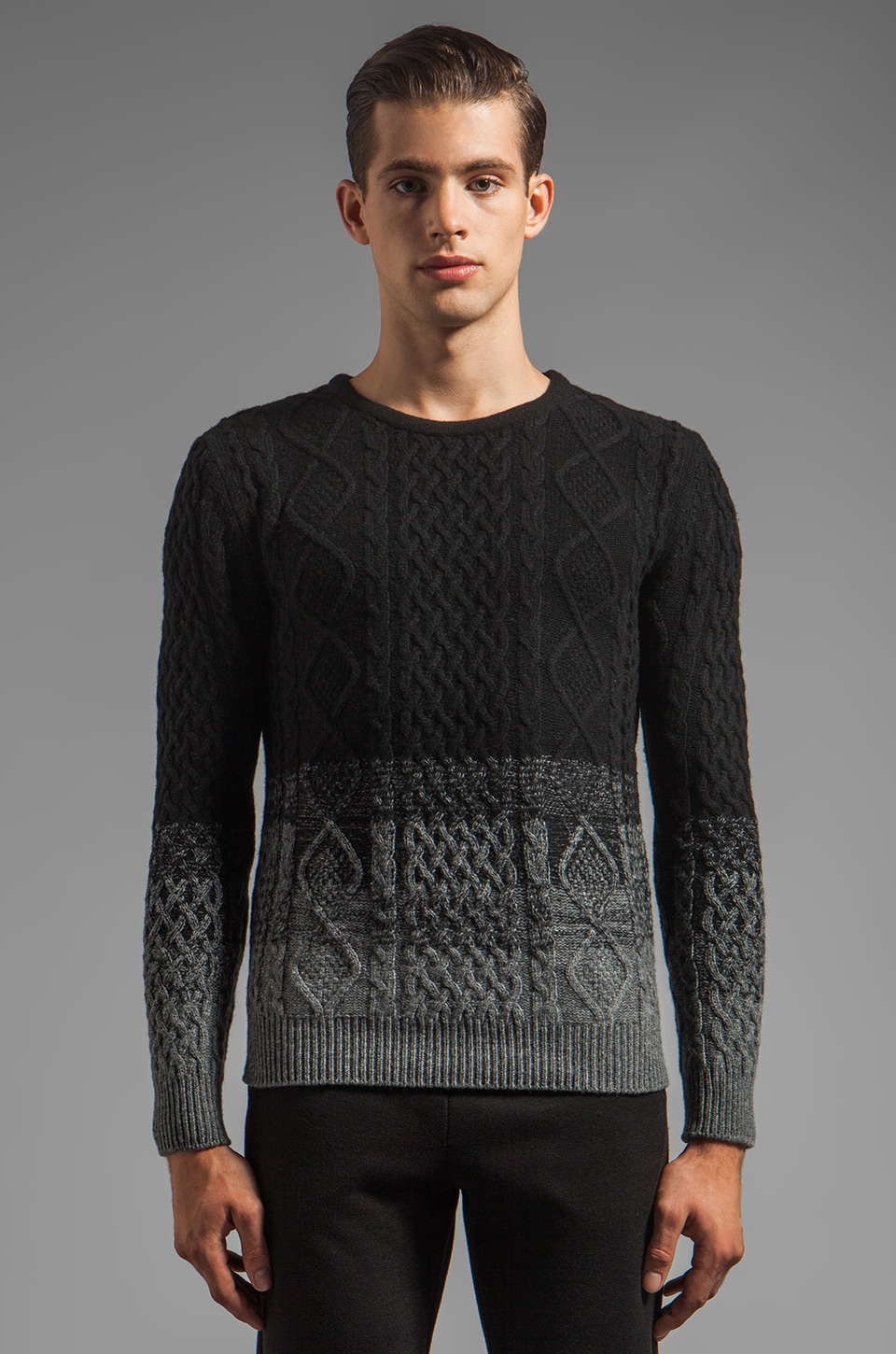 Munsoo Kwon Cable Sweater in Black/Dark Gray