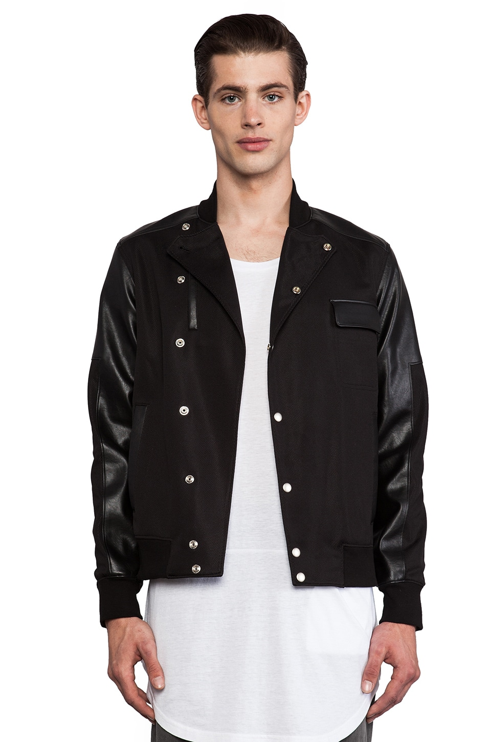 Munsoo Kwon Asymmetric Coolever Varsity Jacket in Black