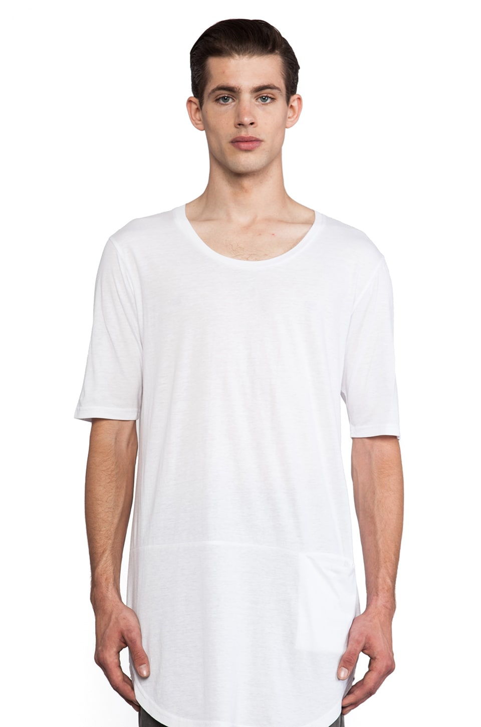Munsoo Kwon Deep Neck Oversized Tee in White