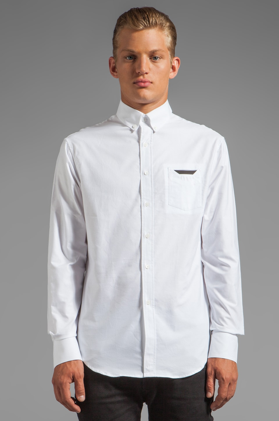 Munsoo Kwon Contrast Pocket Shirt in White