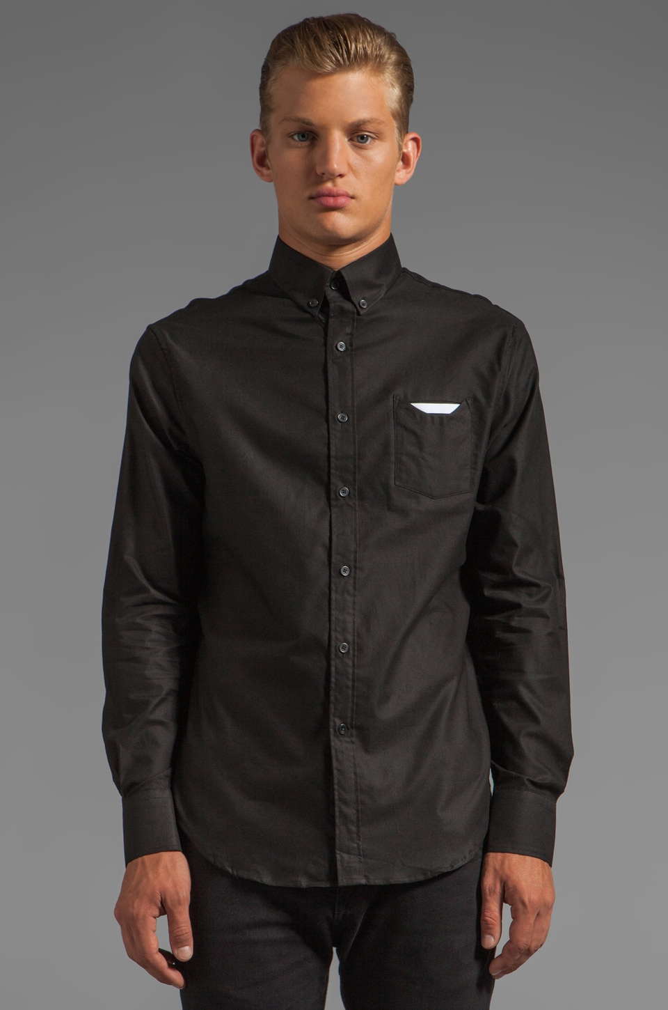 Munsoo Kwon Contrast Pocket Shirt in Black