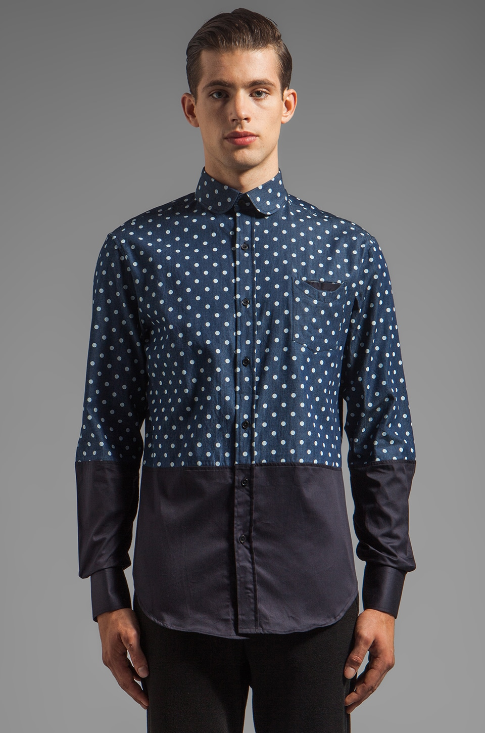 Munsoo Kwon Dotted Pocket Shirt in Indigo/Navy