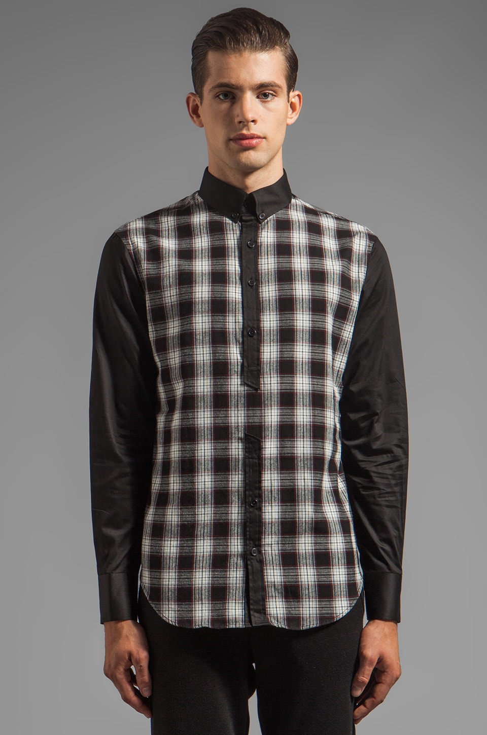 Munsoo Kwon Broken Contrast Shirt in Black Check