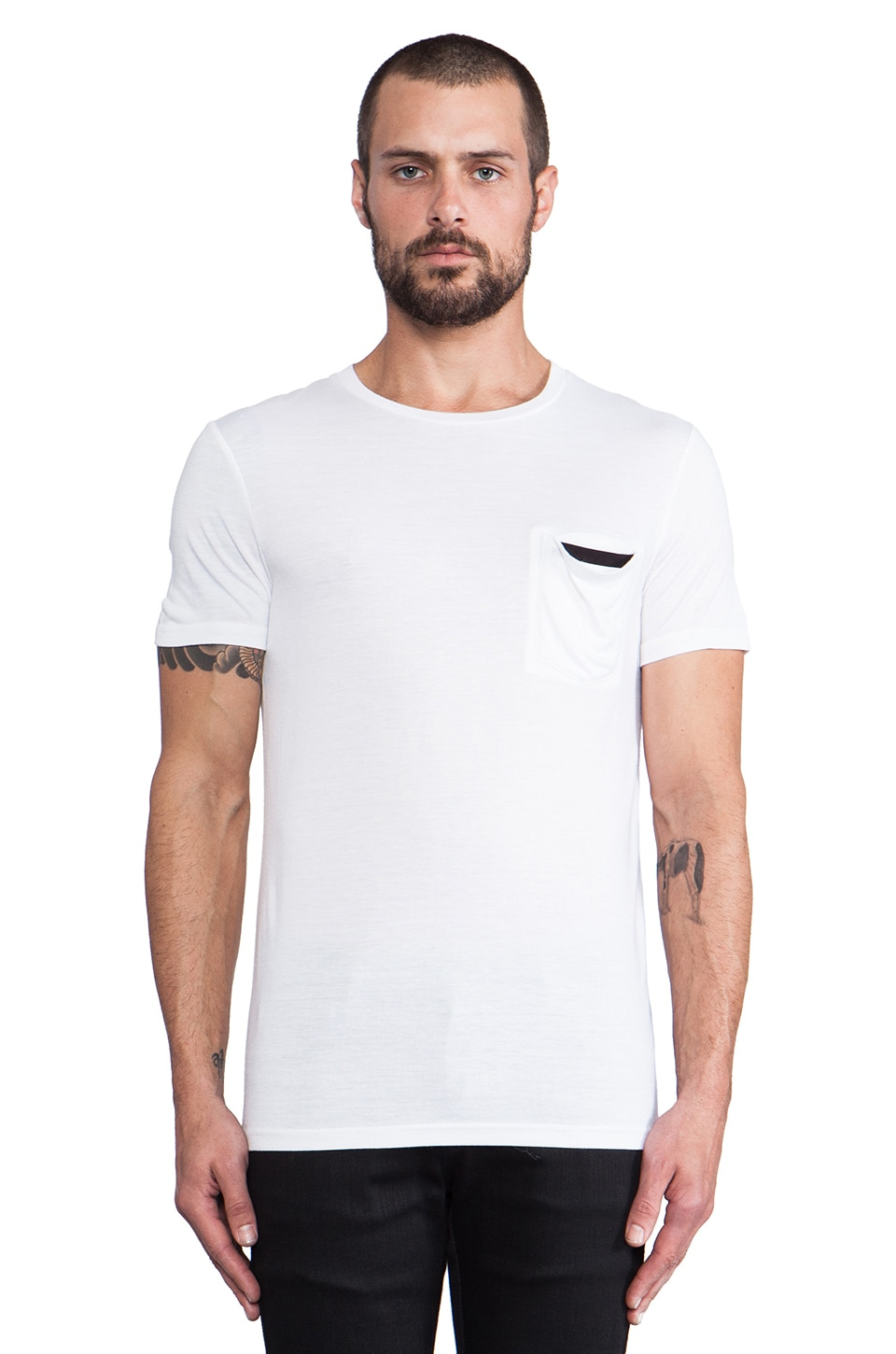 Munsoo Kwon Contrast Tee in White