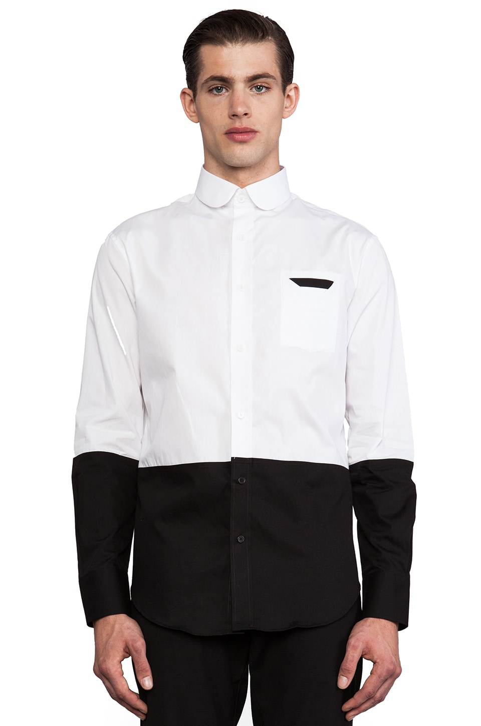 Munsoo Kwon Two Tone Shirt in White & Black