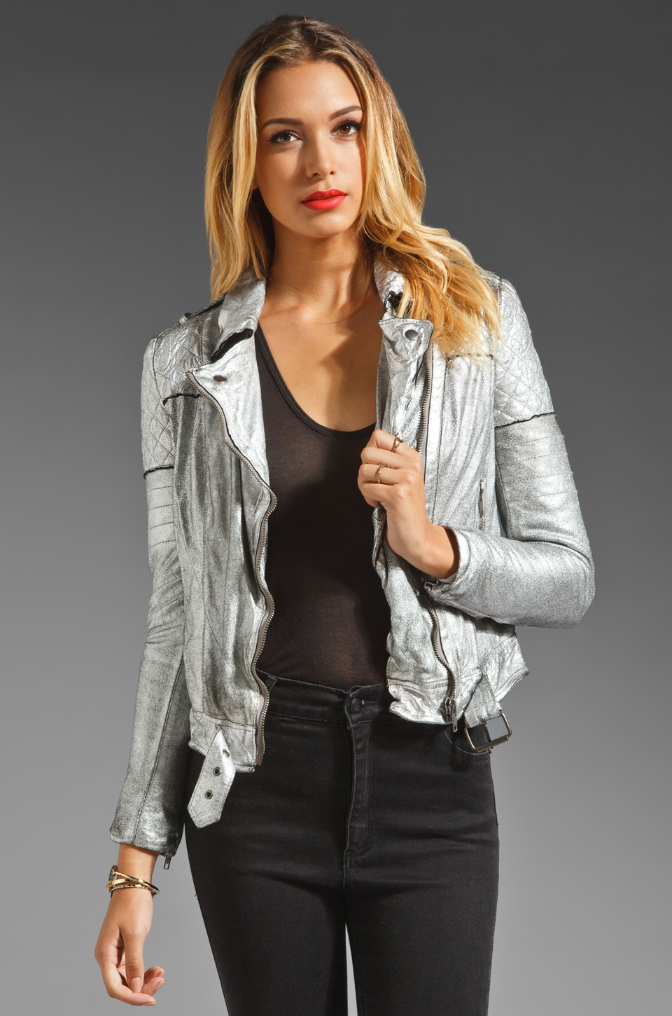 Muubaa Minsk Quilted Leather Biker Jacket in Silver