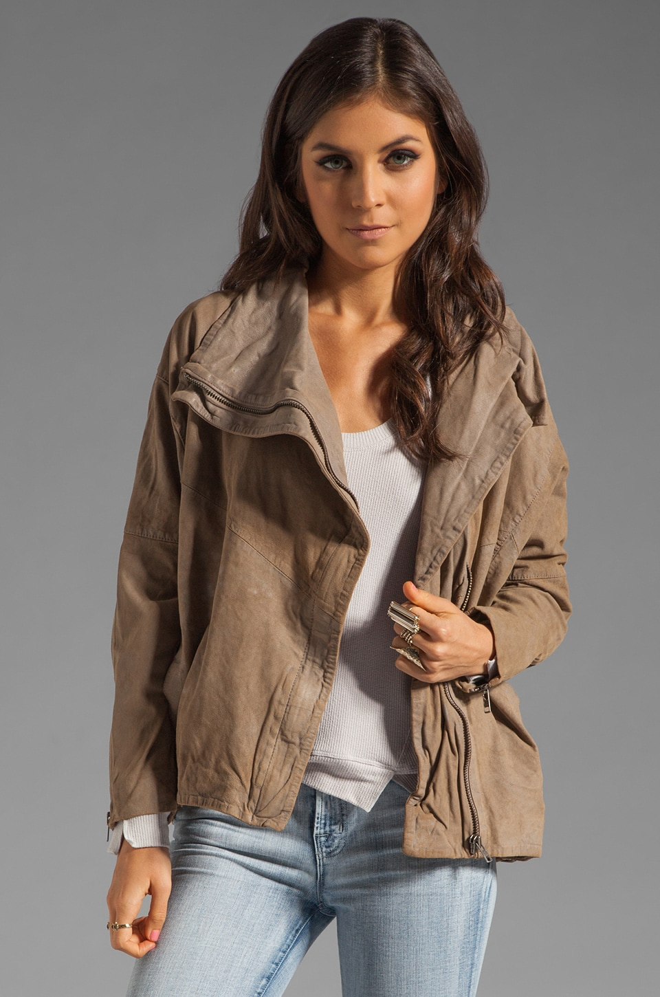 Muubaa Marondera Slouch Leather Jacket in Taupe Grey