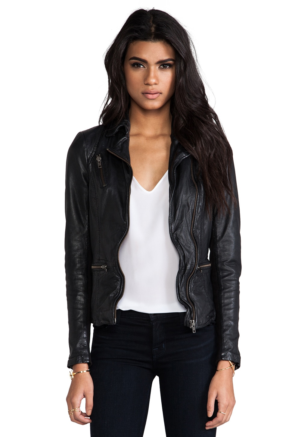 Muubaa Sirius Leather Biker Jacket in Black