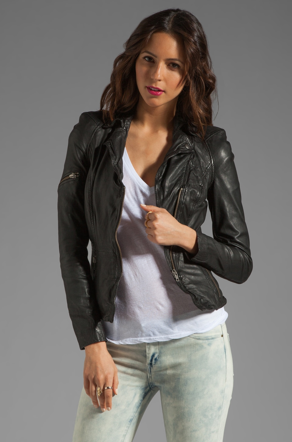 Muubaa Lyra Leather Biker Jacket in Black