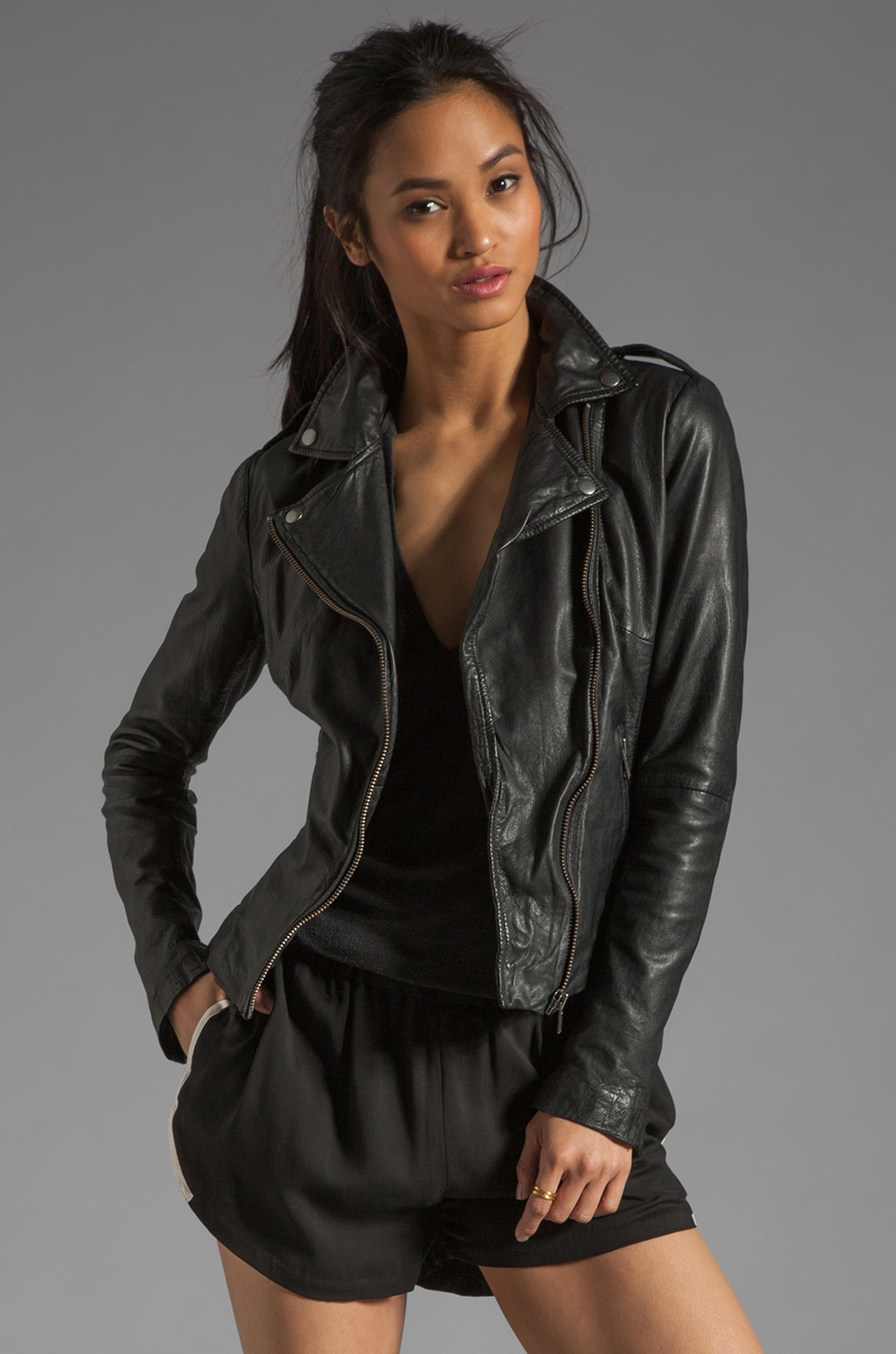 Muubaa Tehmi Leather Biker Jacket in Black