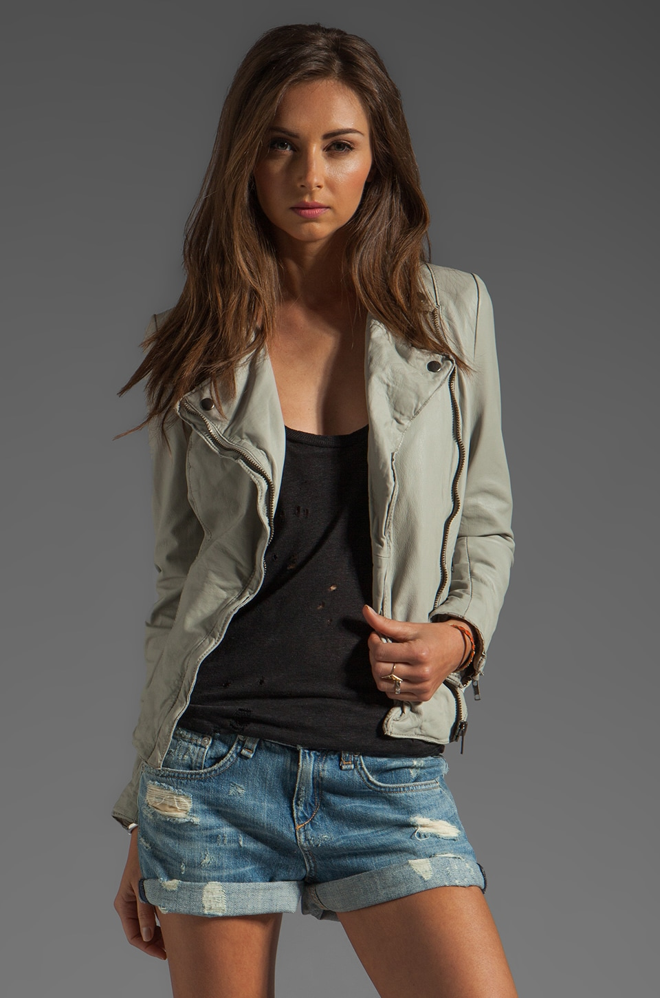 Muubaa Monteria Leather Biker Jacket in Sandstone