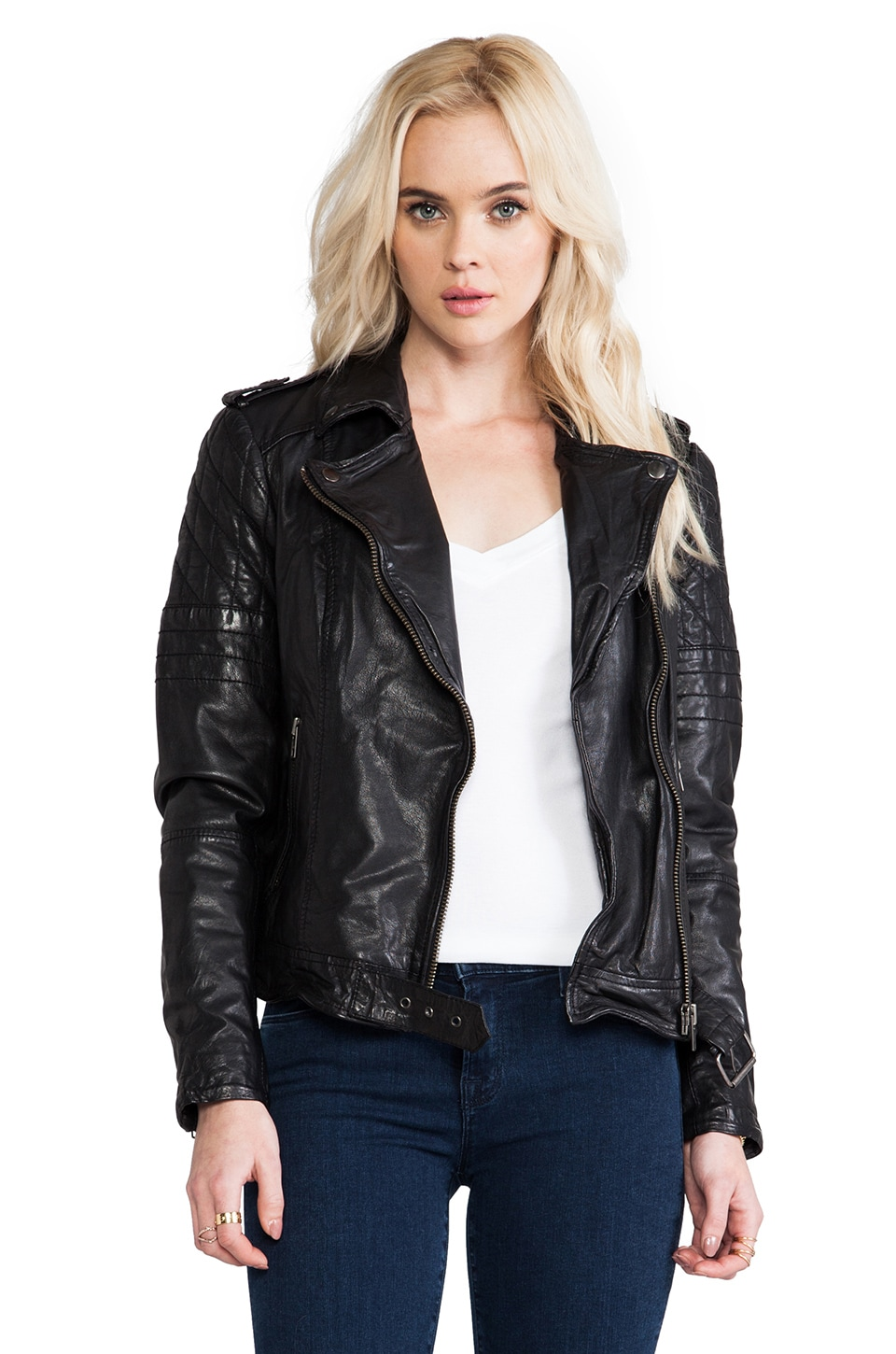 Muubaa Nido Quilted Moto in Black