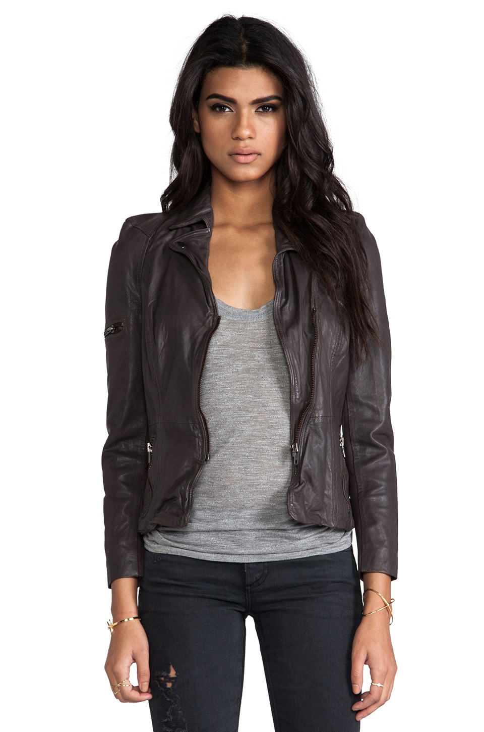 Muubaa Lyra Fitted Biker Jacket in Slate Grey