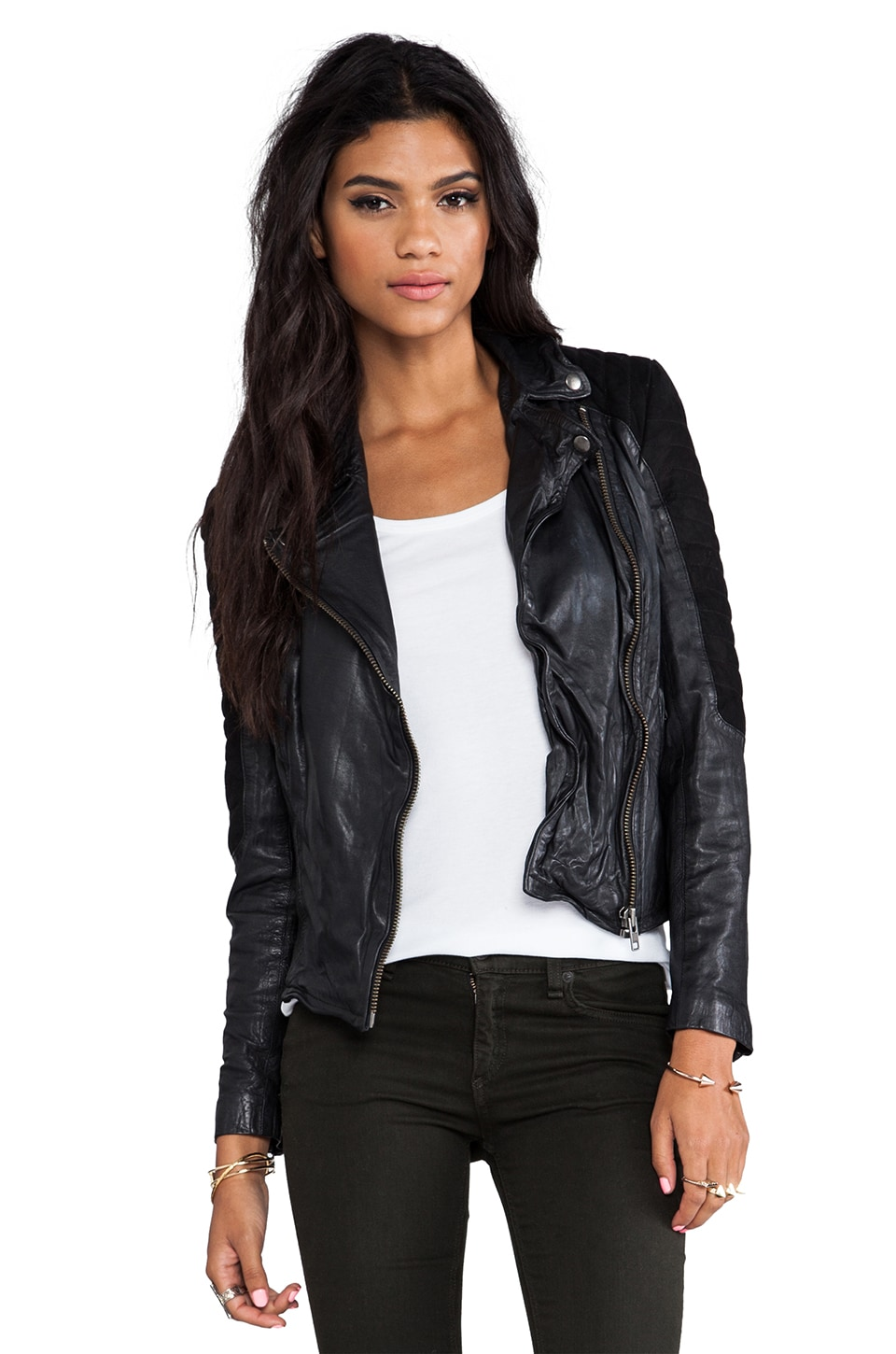 Muubaa Xera Quilted Biker in Black/Black