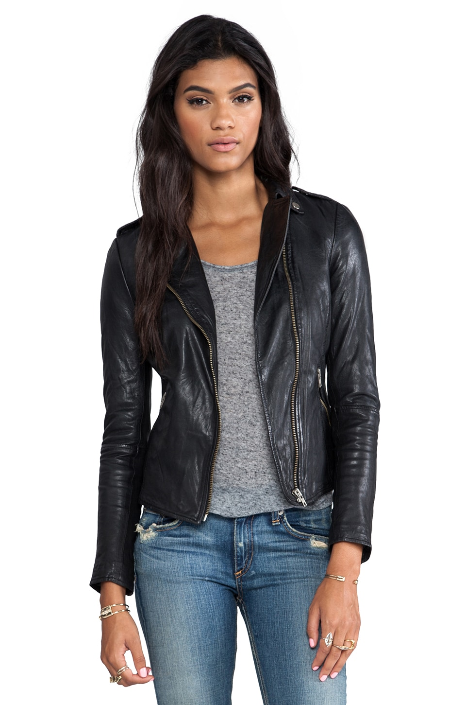 Muubaa Carmon Zip Biker in Black