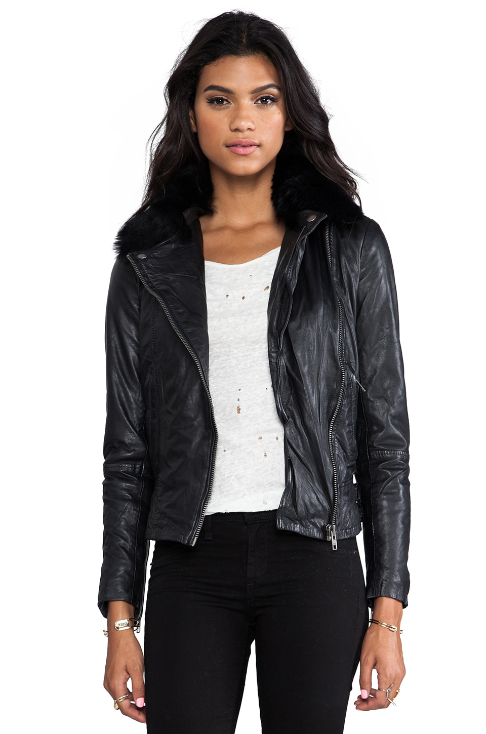 Muubaa Lindus Detachable Collar Jacket in Black/Black