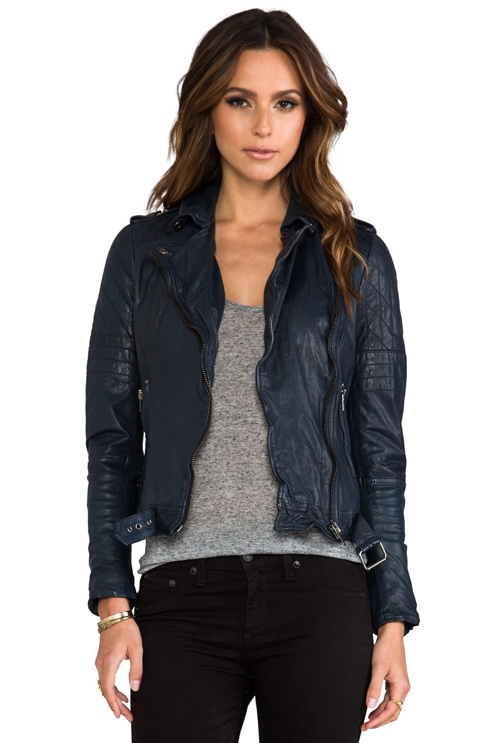 Muubaa Nido Quilted Biker Jacket in Ink