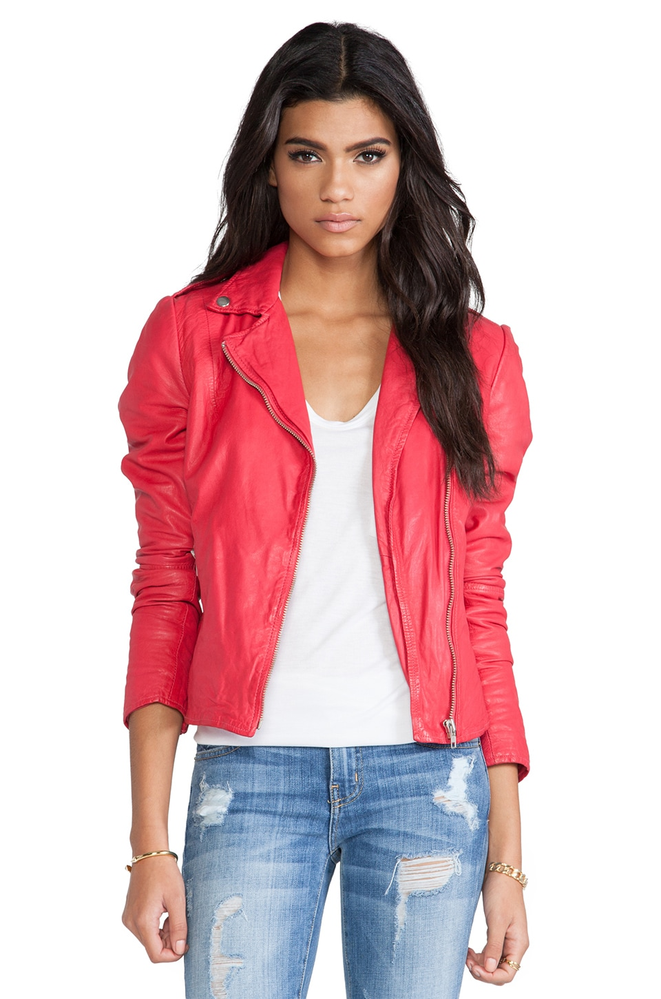 Muubaa Moto Jacket in Pomegranate