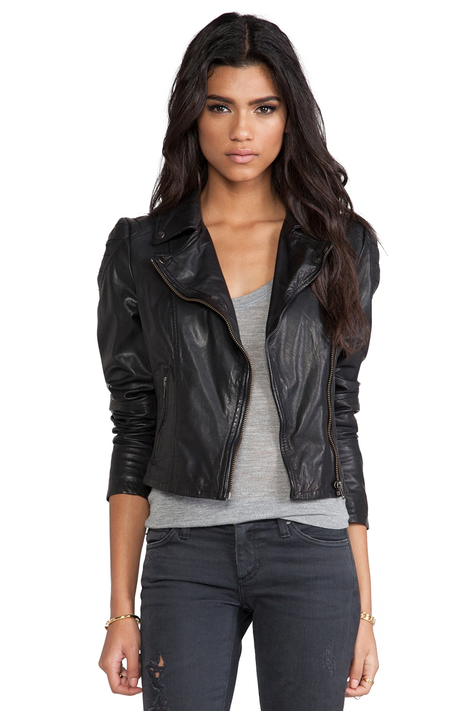 Muubaa Quilted Shoulder Moto Jacket in Black