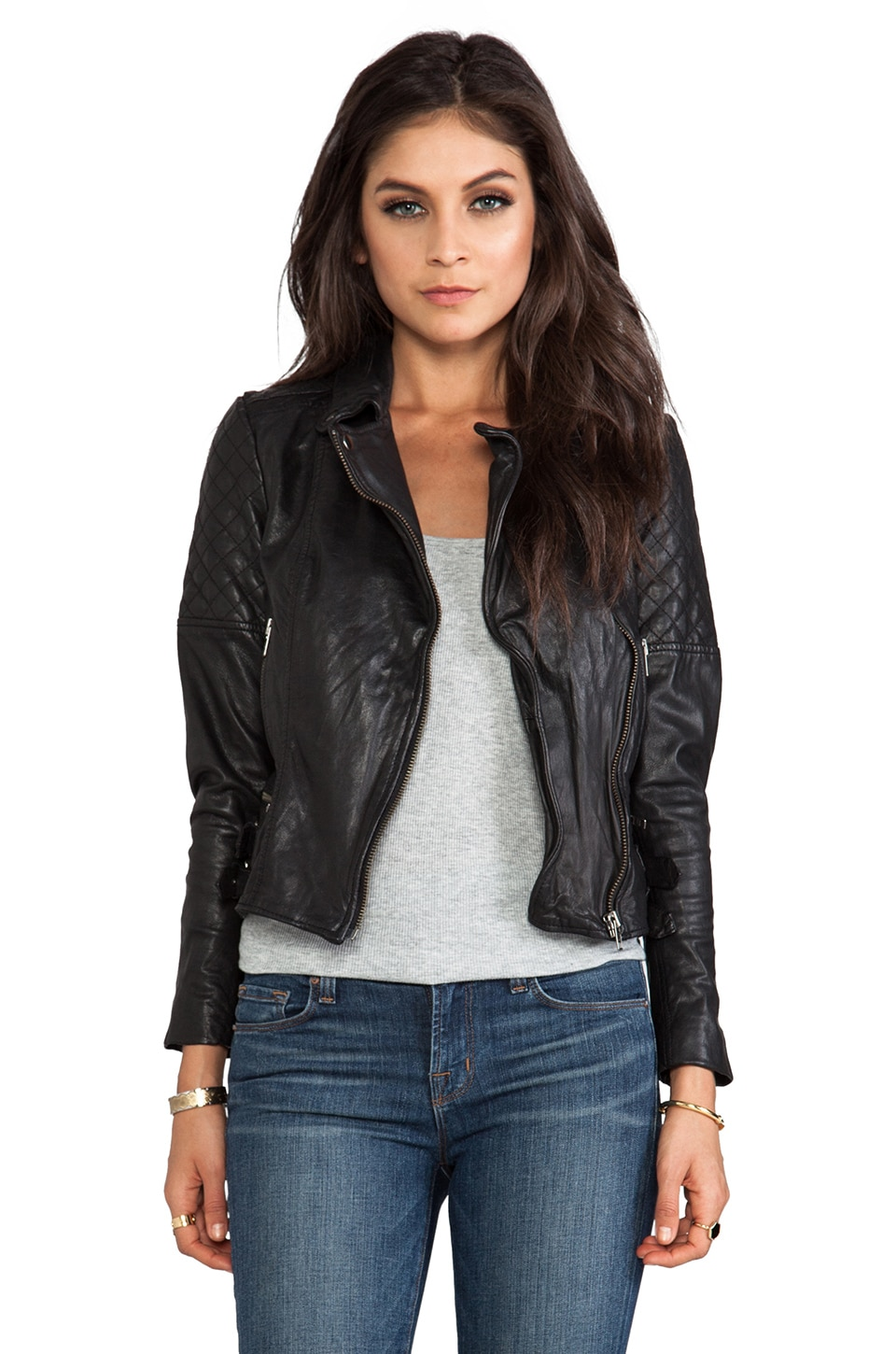 Muubaa Rokel Quilted Biker Jacket in Black