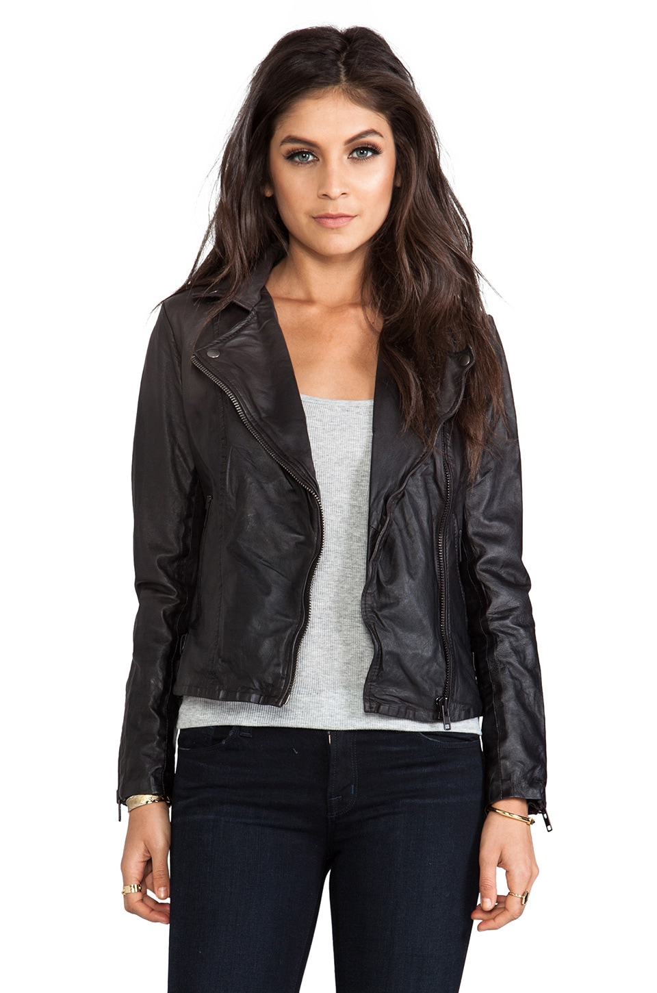 Muubaa Chello Moto Biker Jacket in Dark Chocolate