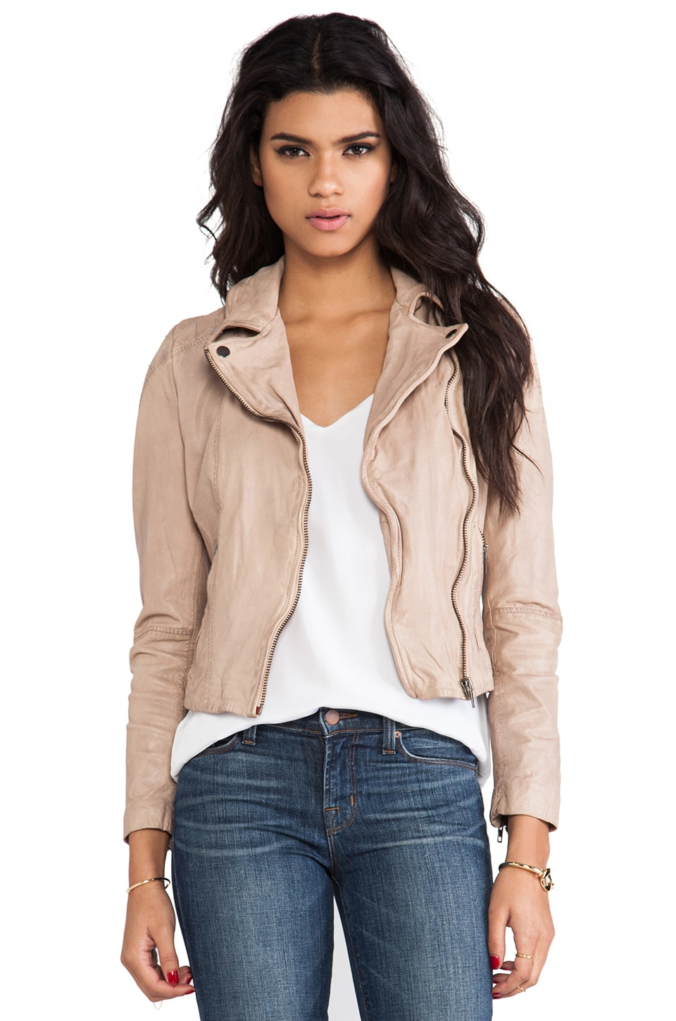Muubaa Quilted Shoulder Moto Jacket in Rosetta