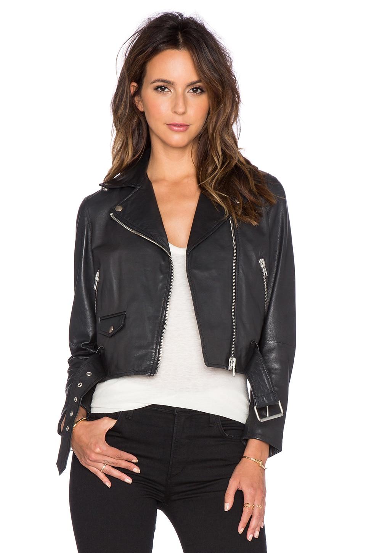 Muubaa Irwin Cropped Biker Jacket in Black
