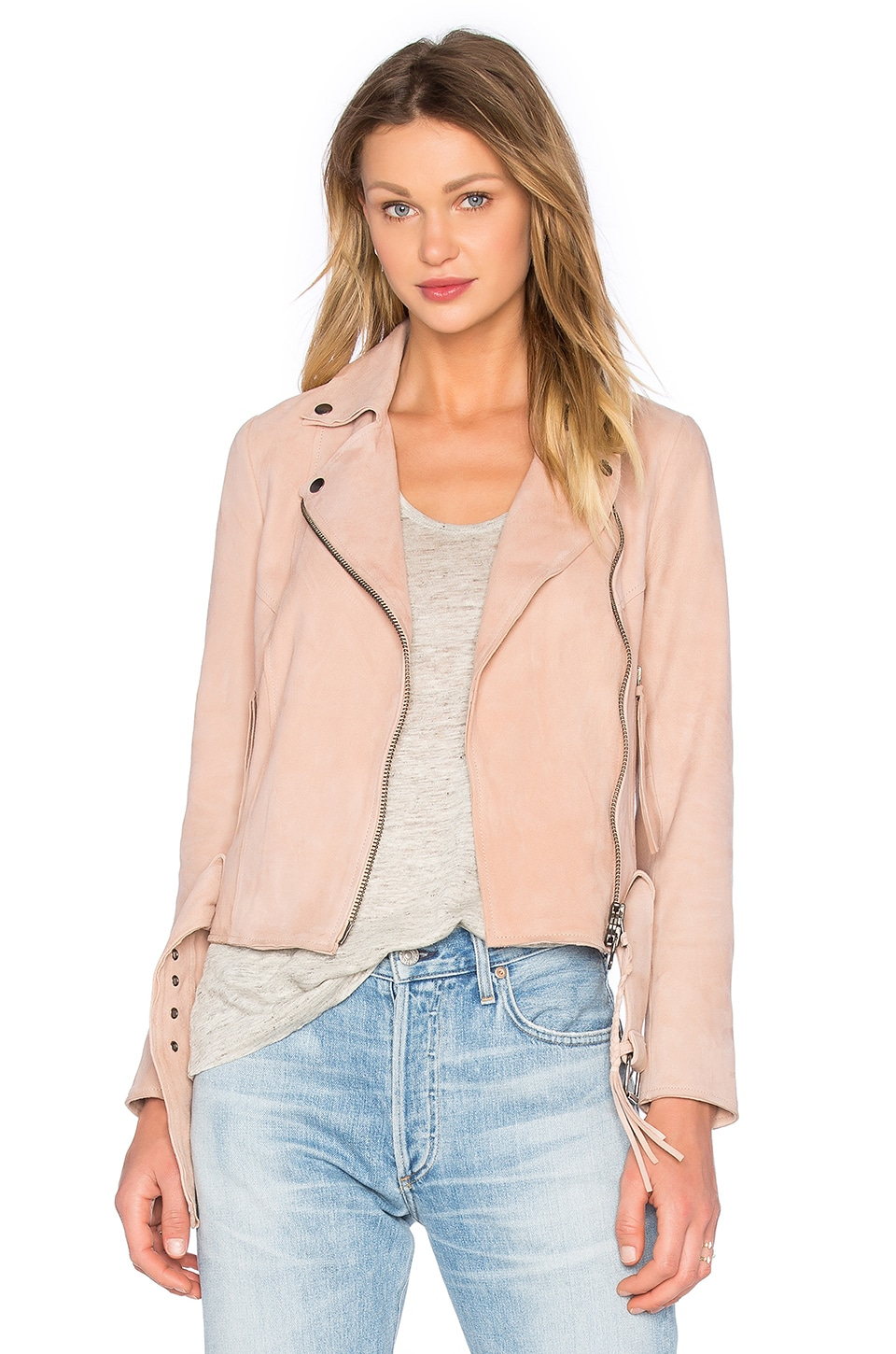 Muubaa Warren Biker Jacket in Rose Dawn