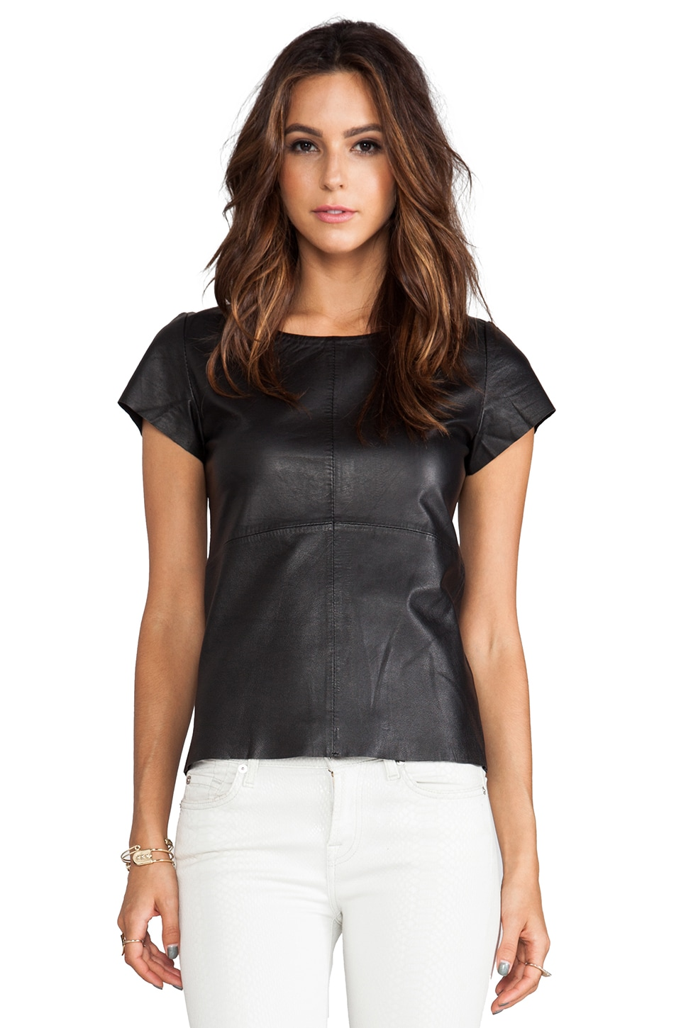 Muubaa Numidia Leather Top in Black