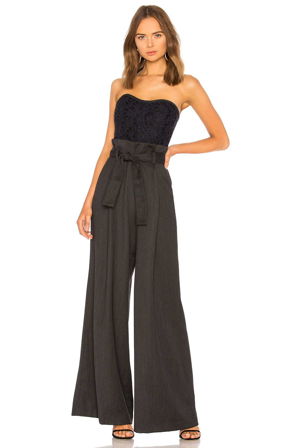 Marissa Webb Frances Jumpsuit in Charcoal Combo