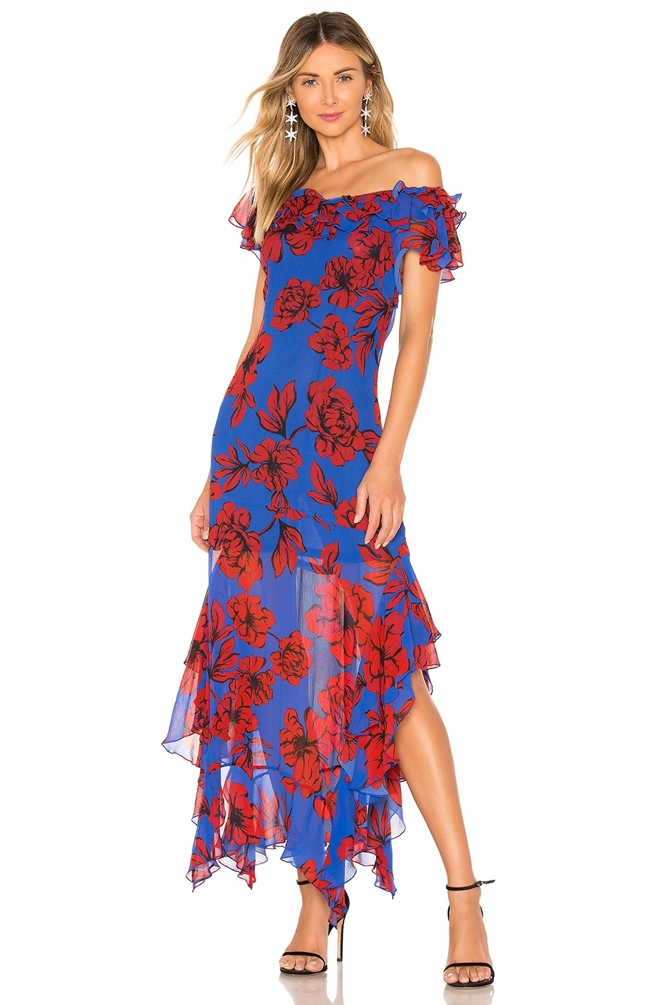 Marissa Webb Sofia Print Dress in Peony Klein Blue