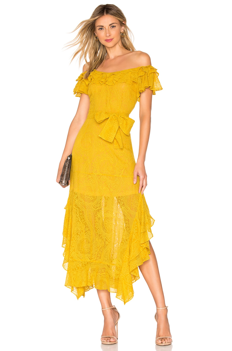 Marissa Webb Sofia Embroidered Dress in Saffron Yellow