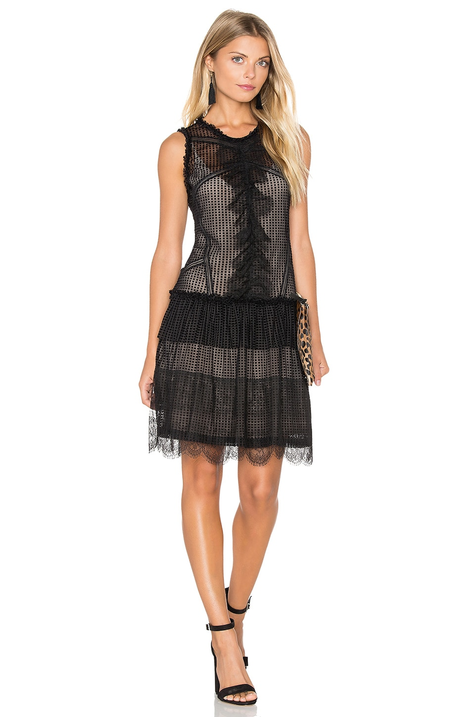 Marissa Webb Avery Burnout Dress in Black Combo