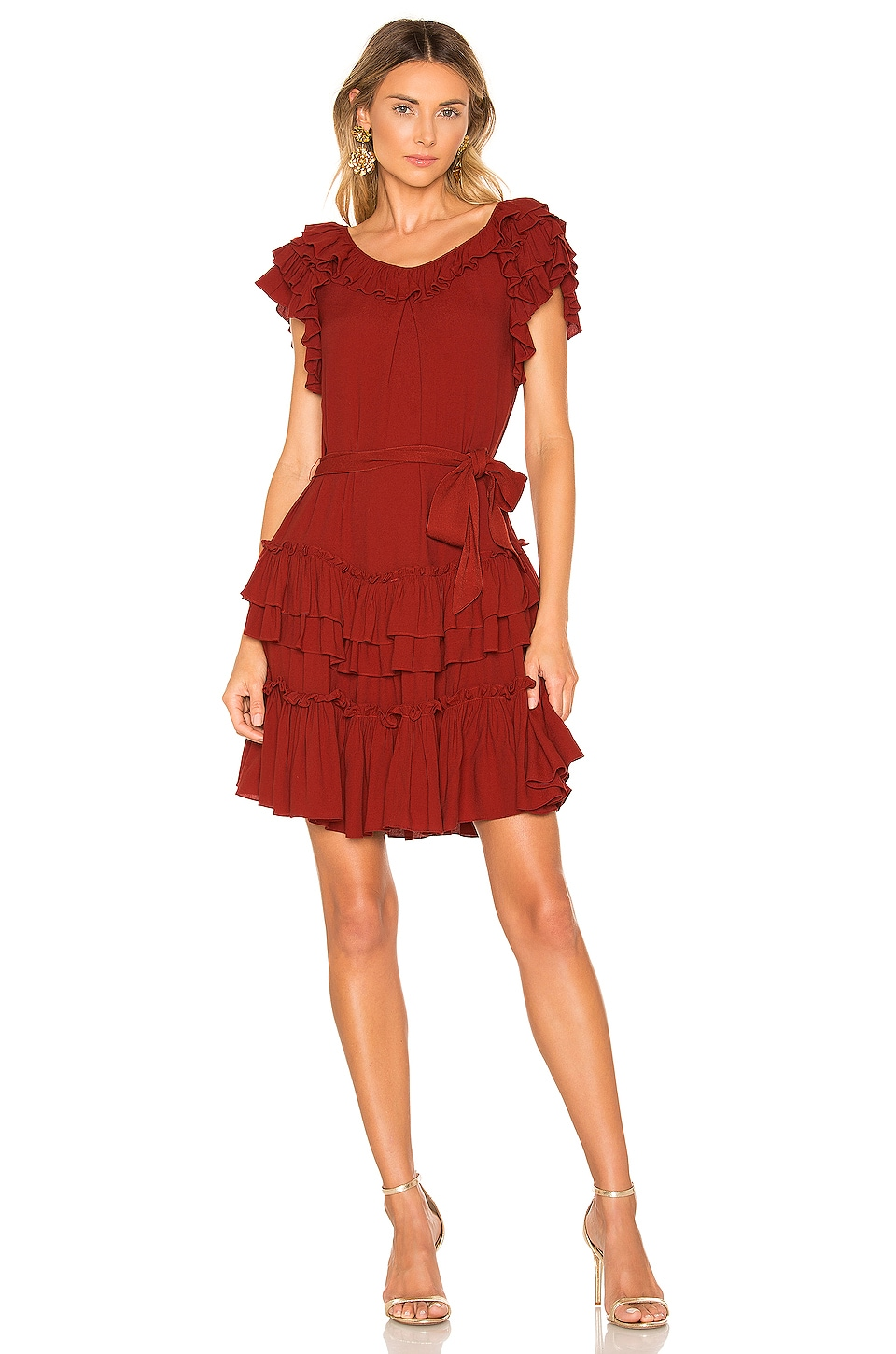 Marissa Webb Elio Crepe Mini Dress in Spiced Red