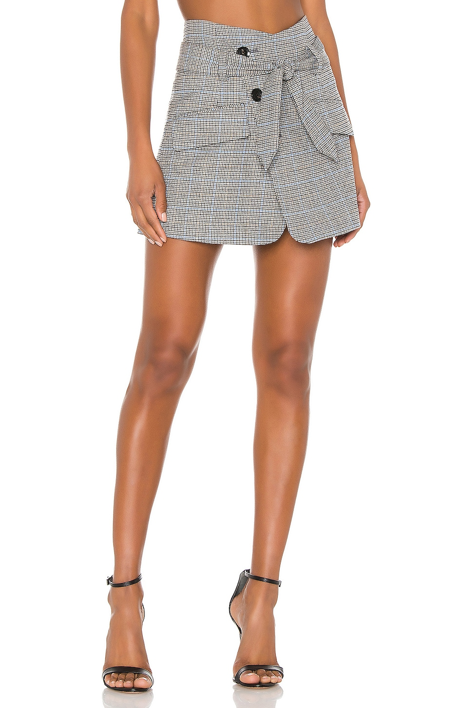 Marissa Webb Katrina Plaid Skirt in Light Grey Combo