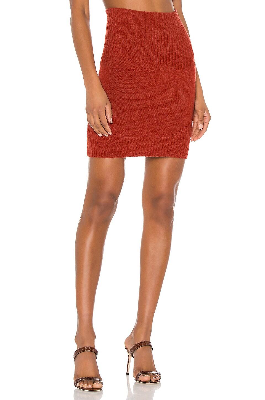 Marissa Webb Jesse Ribbed Trim Mini Skirt in Paprika