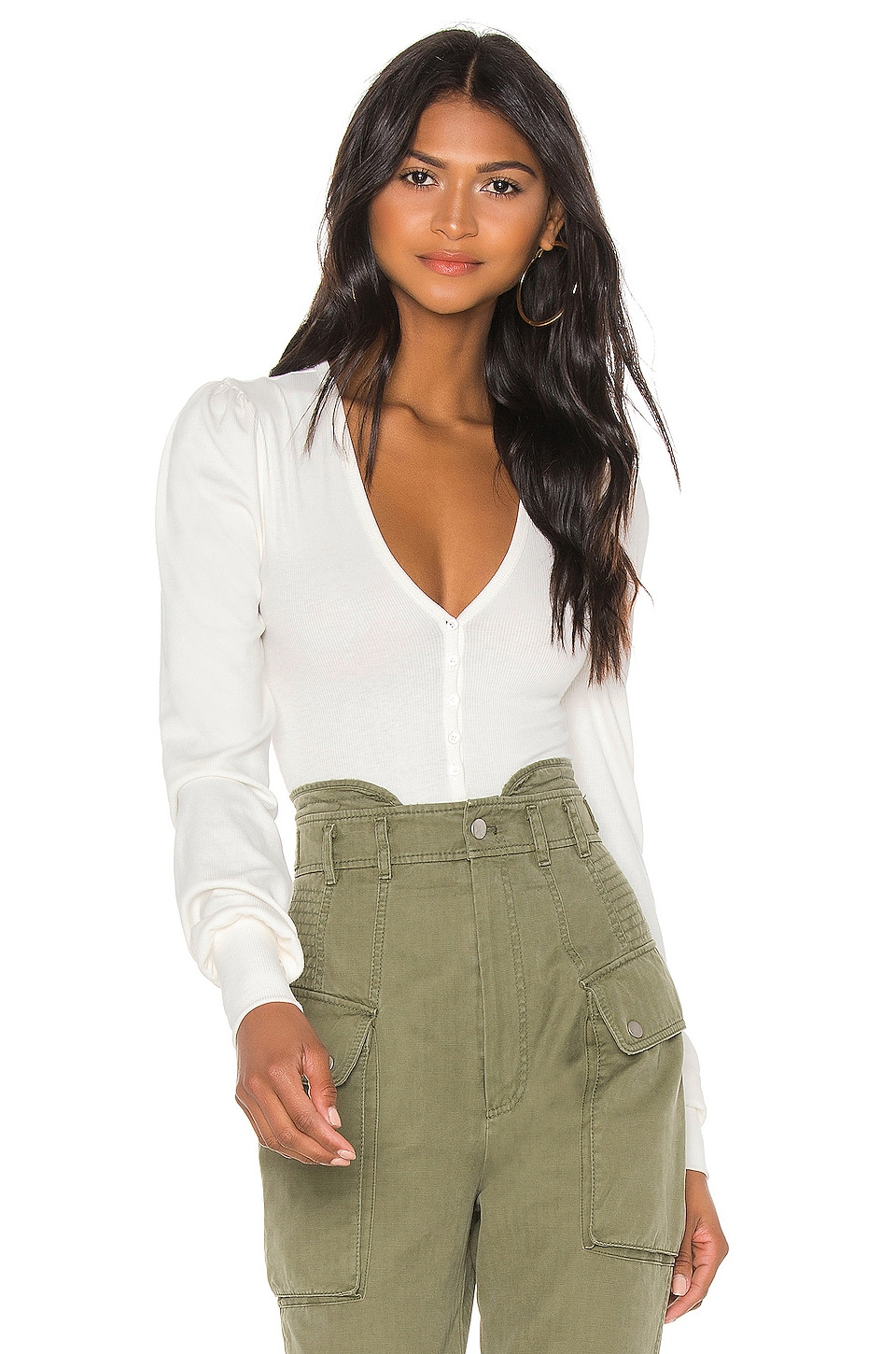 Marissa Webb V Neck Ribbed Bodysuit in White