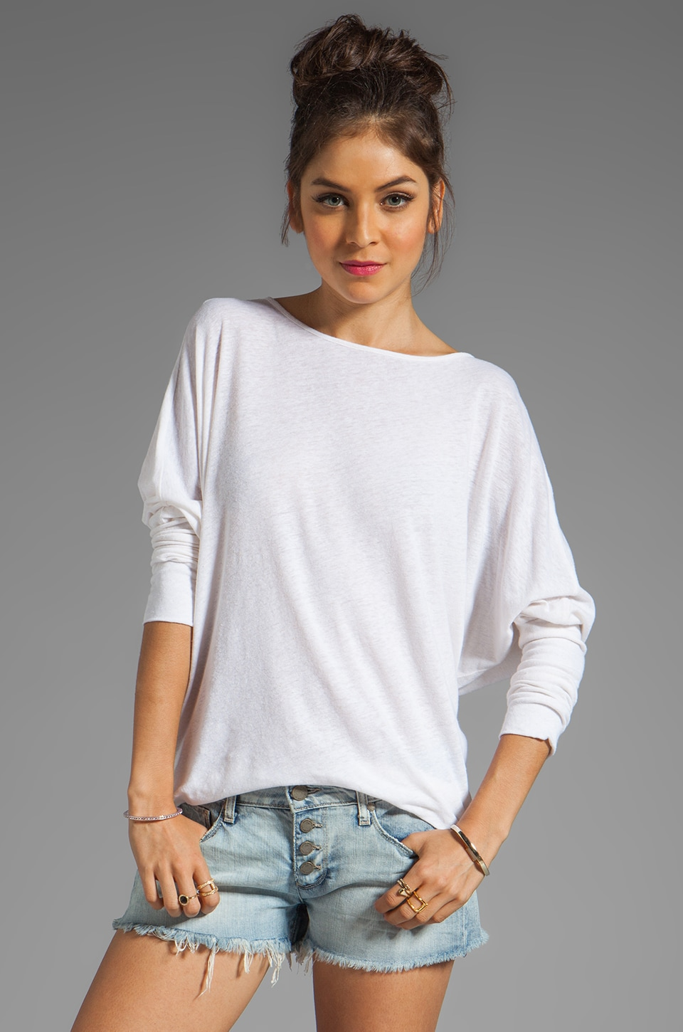 My Line Sage Contrast Dolman in White