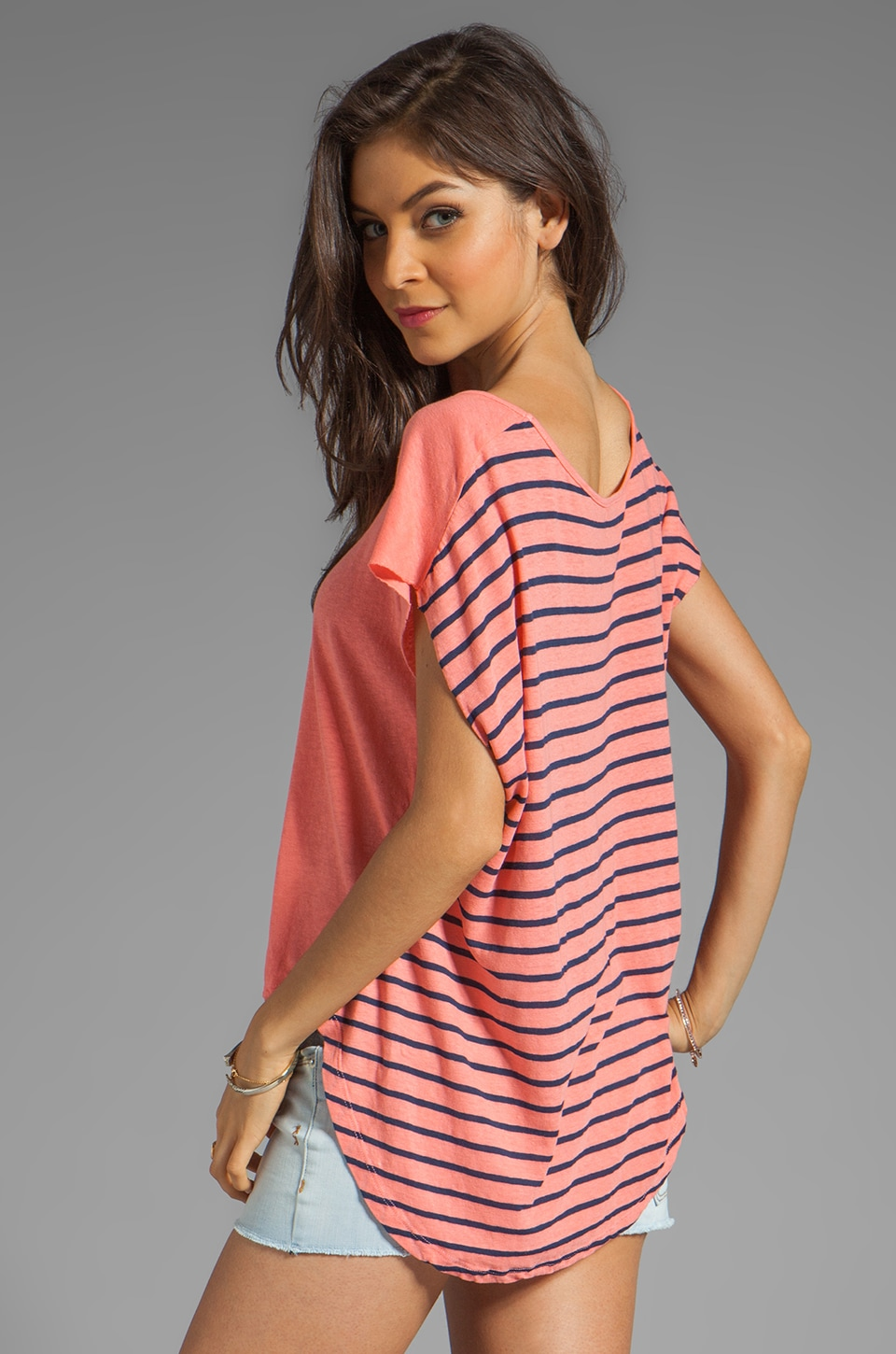My Line Piper Short Sleeved Pullover in Salmon