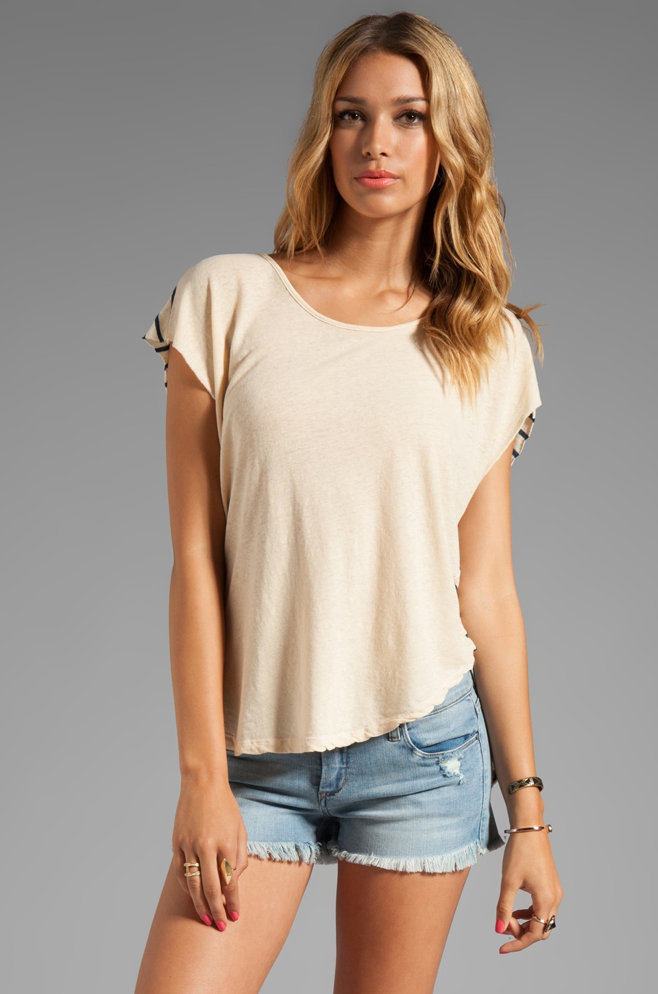 My Line Piper Short Sleeve Pullover in Nude