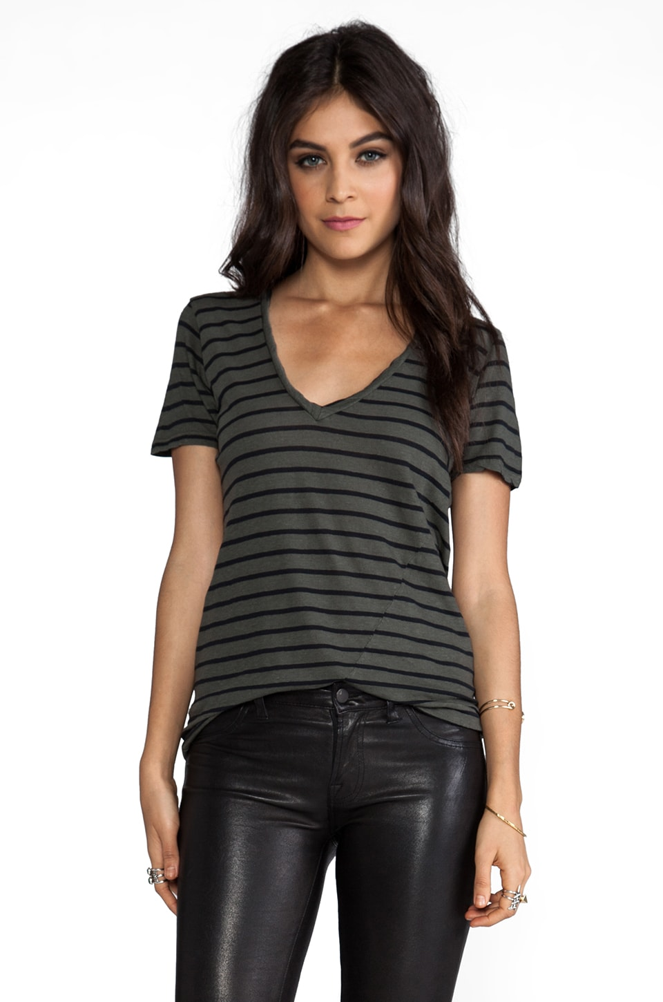 My Line Jezebel Striped V-neck in Army