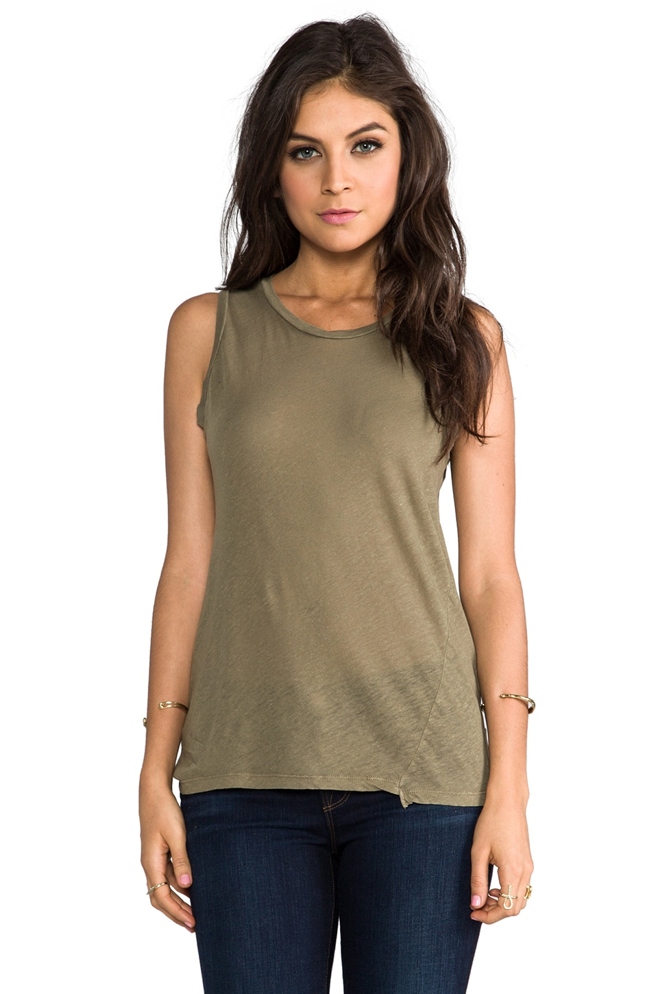 My Line Muscle Tank in Olive